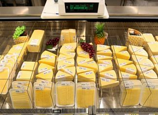 Slices of cheese on display