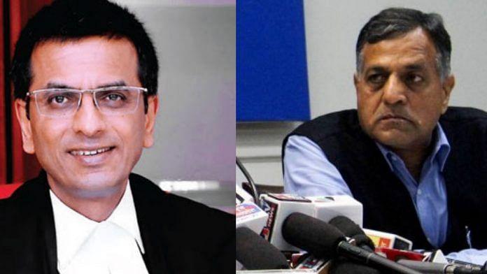 Justice DY Chandrachud (L) and EC Ashok Lavasa (R) | ThePrint