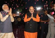 PM Modi with BJP president Amit Shah at the party headquarters, New Delhi