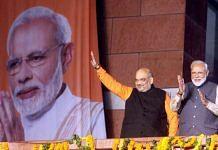 PM Narendra Modi with Amit Shah at the BJP headquarter | Photo: Praveen Jain | ThePrint