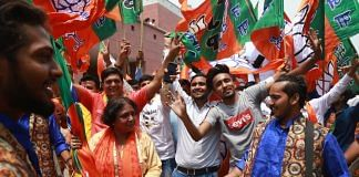 BJP supporters celebrating party's win in the Lok Sabha elections | Photo: Manisha Mondal | ThePrint