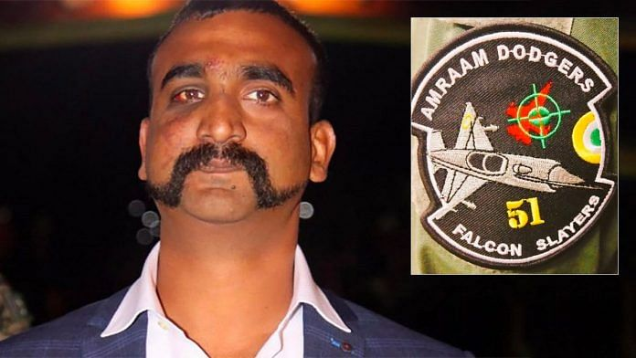 Wing Commander Abhinandan Varthaman. (Inset) the Dodgers patch