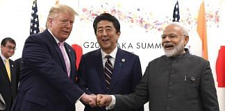 US President Donald Trump, left, Shinzo Abe, Japan's prime minister, center, and Narendra Modi at G-20 summit in Osaka | Photo: Carl Court/Pool via Bloomberg