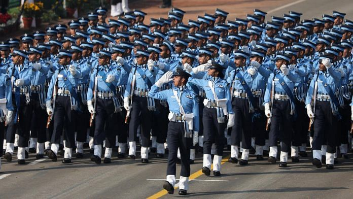 An Indian Air Force contingent marches along the Rajpath during the Republic Day parade in New Delhi