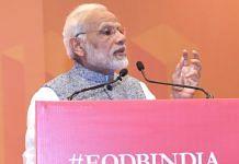 Modi addressing from podium