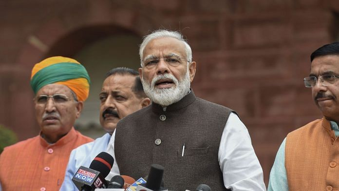 Prime Minister Narendra Modi addresses the media as he arrives for the first session of 17th Lok Sabha | PTI