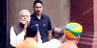 Prime Minister Narendra Modi greets leaders before entering the Parliament   Photo: Praveen Jain   ThePrint