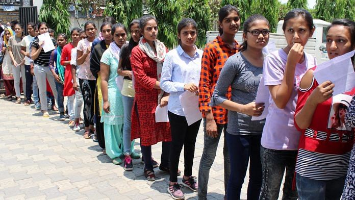 File image of students queuing up for an exam | Representational image | ANI
