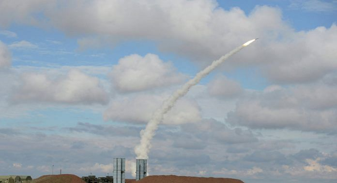 The S 400 Triumf missile being fired.   Russian govt. release