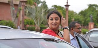 Amethi MP Smriti Irani arrives at the Parliament House in New Delhi