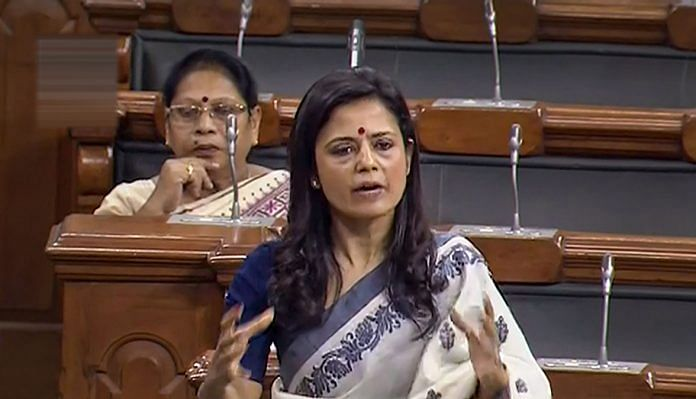 TMC MP Mahua Moitra speaks in the Lok Sabha during the budget session of Parliament, in New Delhi | PTI/LSTV