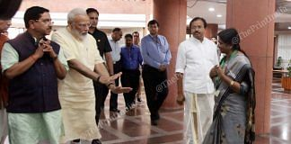 PM Modi requests YSR Congress MP Venkata Satyavathi not to touch his feet   Photo: Praveen Jain   ThePrint