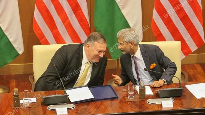 US Secretary of State Mike Pompeo with external affairs minister S. Jaishankar at a media briefing   Photo by Praveen Jain - ThePrint