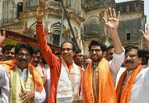 File photo of Shiv Sena chief Uddhav Thackeray with son Aaditya and party leader Sanjay Raut (right)
