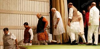 BJP leaders (left to right) Nitin Gadkari, Pralhad Joshi, Amit Shah, Narendra Modi, Rajnath Singh,Thawarchand Gehlot leave the stage after event
