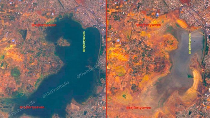 Puzhal Lake, Chennai — before (L) and after (R). | Source: Col. Vinayak Bhat (retd.)