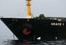 The impounded Iranian crude oil tanker, Grace 1, sits anchored off the coast of Gibraltar   Photographer: Marcelo del Pozo   Bloomberg