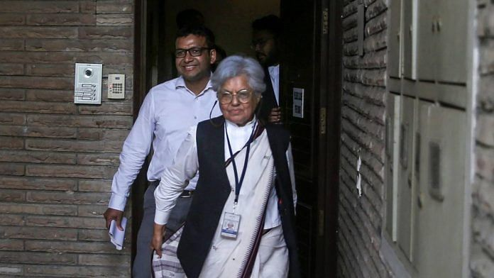 Supreme Court lawyer Indra Jaising at her residence during a raid by the CBI, in New Delhi, Thursday, July 11, 2019. The CBI raided Delhi and Mumbai homes of the Supreme Court lawyers Indira Jaising and Anand Grover for alleged violation of foreign funding rules for their Delhi-based NGO, Lawyers Collective | PTI Photo