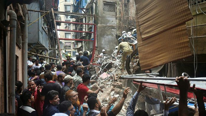 Rescue and relief works underway after the collapse of the four-storey Kesarbai building at Dongri in Mumbai | PTI
