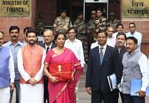 Finance Minister Nirmala Sitharaman and her team on their way to present the Finance Budget