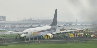 The SpiceJet plane that overshot the runway while landing at Mumbai airport amid heavy rain | File Photo | | PTI
