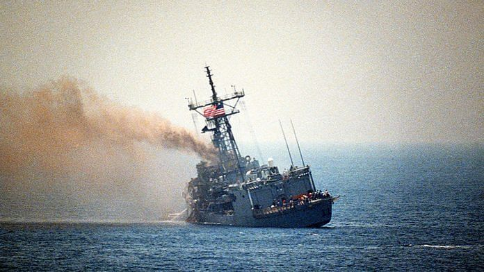 In the Persian Gulf, a port quarter view of the guided missile frigate USS STARK (FFG-31) listing to port after being hit by two Iraqi Exocet missiles, 1987 | Commons