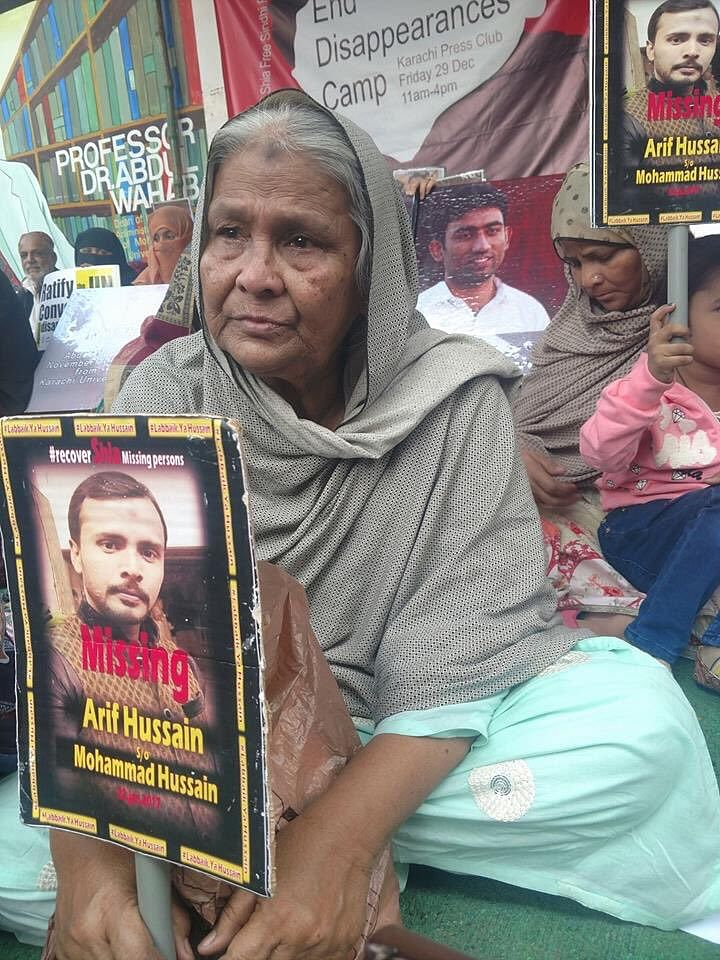 Arif Hussain's mother participating in a protest. | By special arrangement | ThePrint
