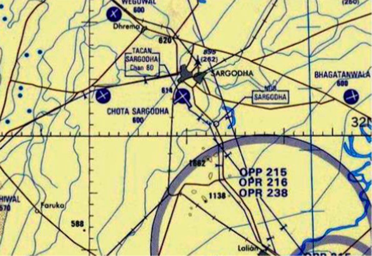 Sargodha complex on a wartime PAF map