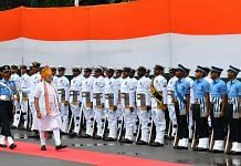 Narendra Modi inspecting the Guard of Honour at Red Fort on the occasion of 73rd Independence Day | PIB