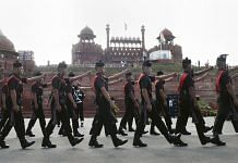 Army soldiers march during rehearsals for the 73rd Independence Day celebrations at the Red Fort, in New Delhi | PTI