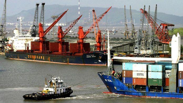 Cargo ships docked at the Mumbai Port | Photographer: Amit Bhargava | Bloomberg News