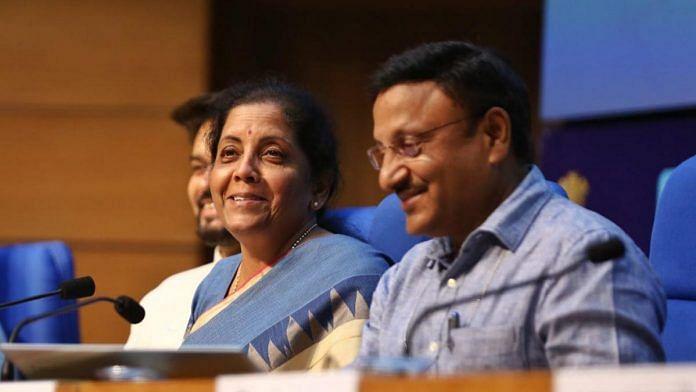 Union Finance minister Nirmala Sitharaman and finance secretary Rajiv Kumar during a press conference in New Delhi.
