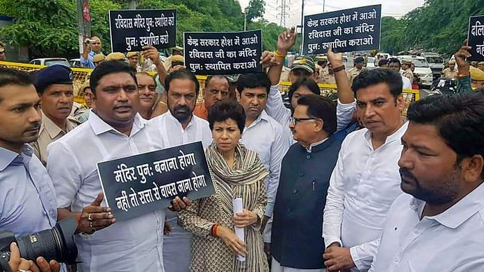 Protest against demolition of a temple in New Delhi