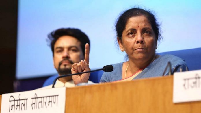 MoS Finance Anurag Thakur and Union Finance Minister Nirmala Sitharaman during a press conference in New Delhi |Photo: Suraj Singh Bisht | ThePrint