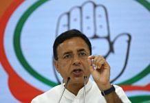 Congress leader Randeep Surjewala addresses a press conference on P. Chidambaram issue at AICC in New Delhi