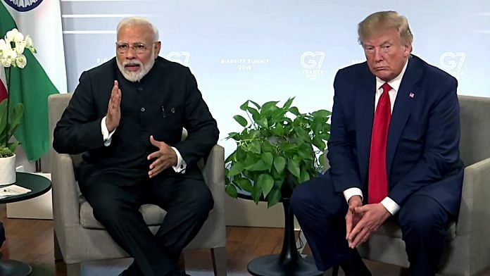 PM Narendra Modi with US President Donald Trump on the sidelines of the G7 Summit in Biarritz on 26 August