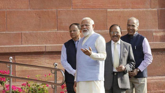 (L-R) Additional Principal Secretary P K Mishra , PM Narendra Modi, National Security Advisor Ajit Doval and Principal Secretary Nripendra Misra in South Block | ThePrint Photo by Praveen Jain