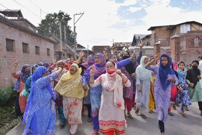 Women protest in Soura, Downtown Srinagar in Jammu and Kashmir on 11th August, 2019 | Photo: Praveen Jain