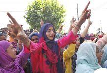 Women protest in Soura, Downtown Srinagar in Jammu and Kashmir on 11th August, 2019 | Photo: Praveen Jain