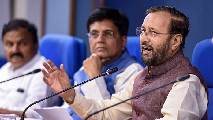 Union Minister of Environment, Forest and Climate Change Prakash Javadekar along with Union Railways Minister Piyush Goyal addresses a press conference in New Delhi, announcing the clearance of FDI in coal mining | PTI