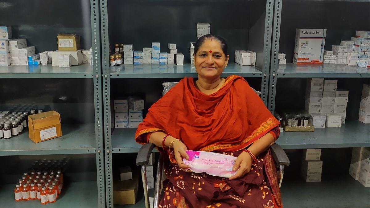 Shakuntala Sudha, who works as a peon at the underground Janaushadhi centre   Photo: Nandita Singh   ThePrint