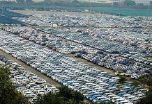 Newly manufactured Maruti Suzuki cars are seen parked inside the company factory in Manesar near Gurugram