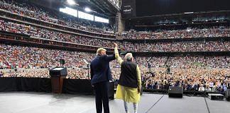 Prime Minister Narendra Modi and US President Donald Trump at the 'Howdy Modi' event, in Houston, Sunday