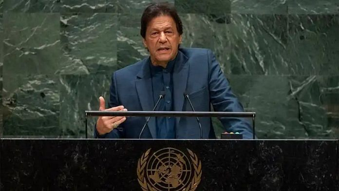 Pakistan's PM Imran Khan speaking at UNGA | Twitter- @MoIB_Official