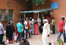 People queuing up at the LNJP Hospital
