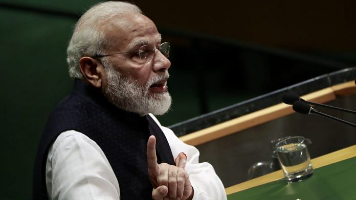 File photo: PM Narendra Modi speaks during the UN General Assembly meeting in New York, 27 Sept | Yana Paskova/Bloomberg