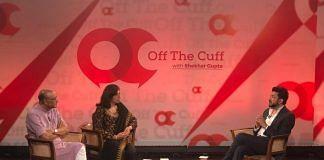 (From left) Shekhar Gupta, Kiran Mazumdar Shaw and Siddhartha Mukherjee at Off The Cuff in Bengaluru