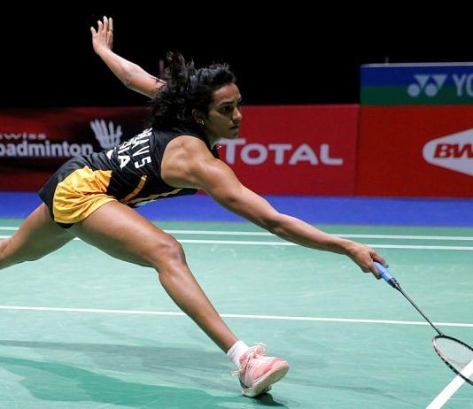 P.V. Sindhu during her quarter-final women's singles match against Chinese Taipei's Tai Tzu Ying during 2019 Badminton World Championships   ANI