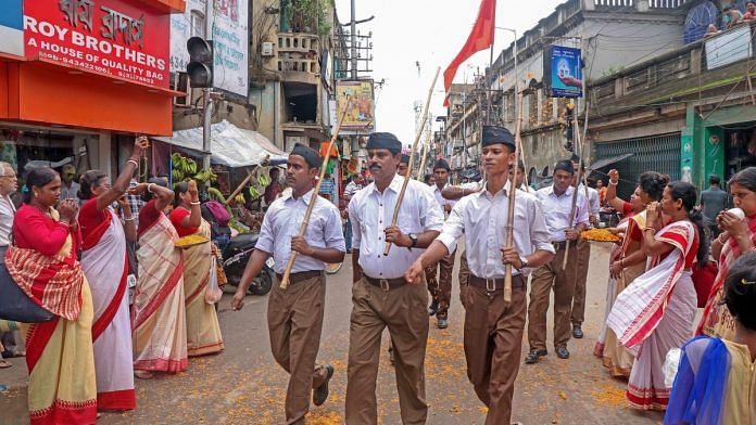RSS workers participate in path-sanchalan (route march), at Bolpur in Birbhum on 29 September