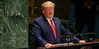 US President Donald Trump speaks during the UN General Assembly meeting in New York, 24 Sept | Jeenah Moon/Bloomberg